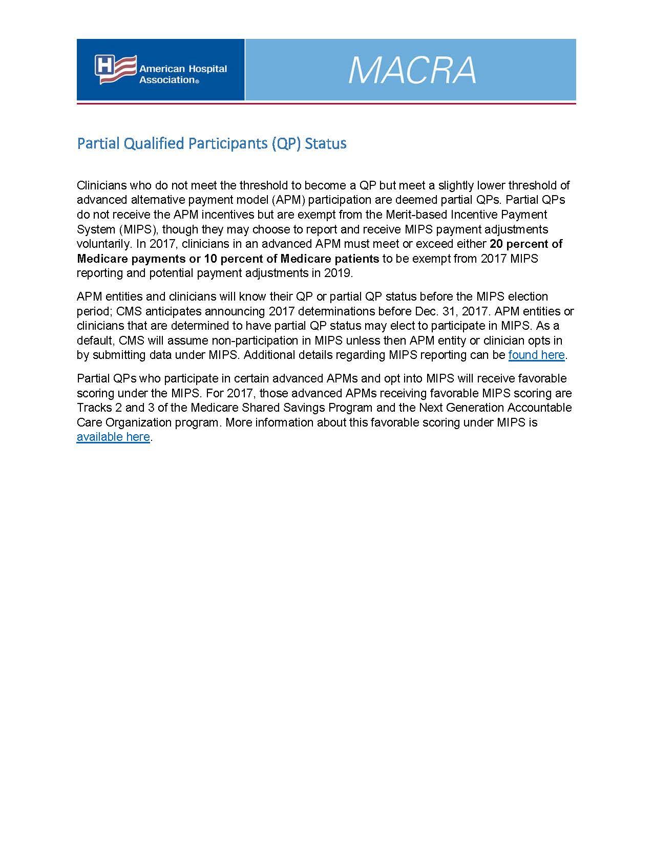 Partial Qualified Participants (QP) Status | AHA