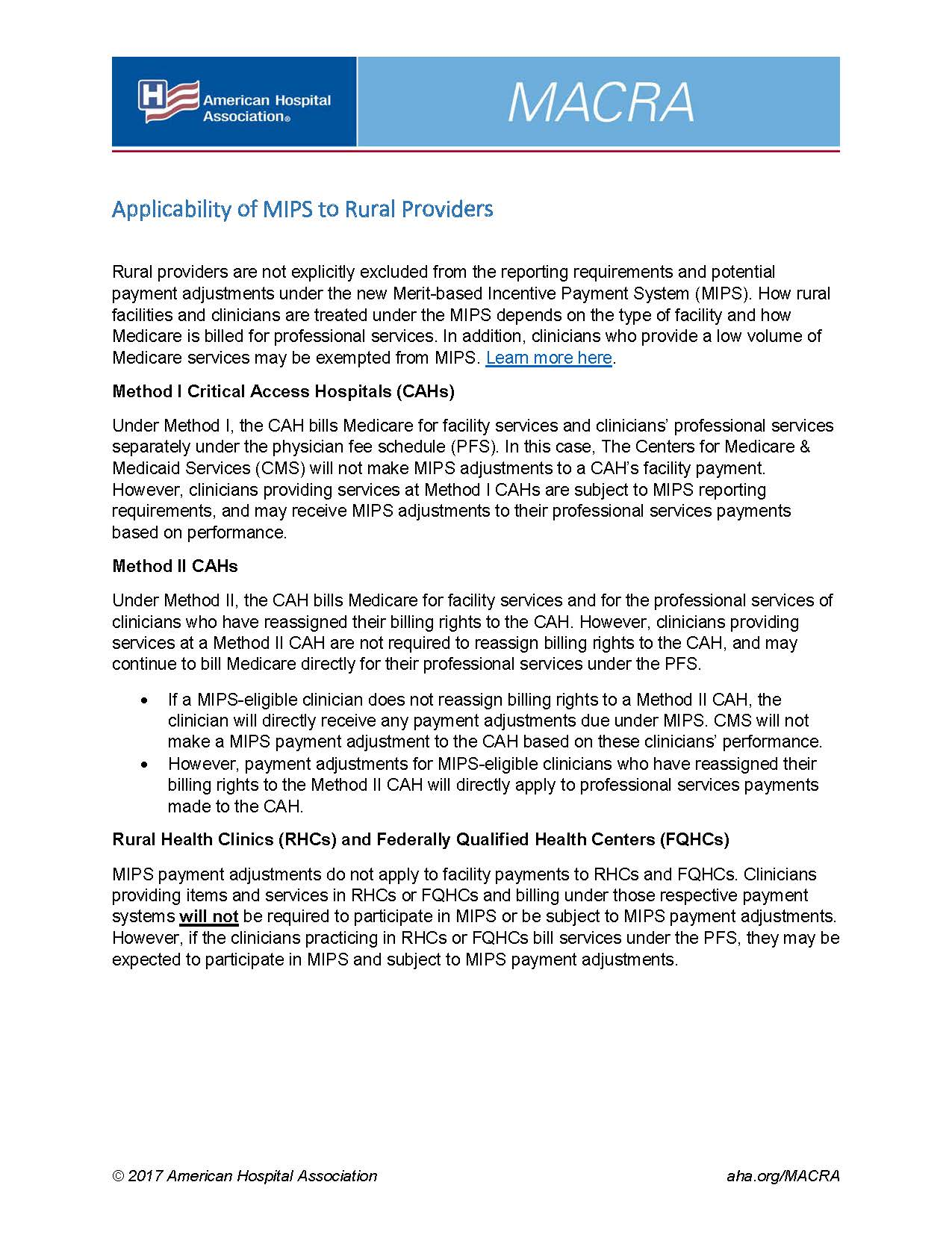 Applicability of MIPS to Rural Providers | AHA