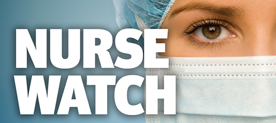 Nurse face peering out from surgical mask behind Nurse Watch logo