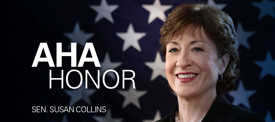 "image of Susan Collins in front of American flag under white text that says ""AHA Honor, Sen. Susan Collins"""