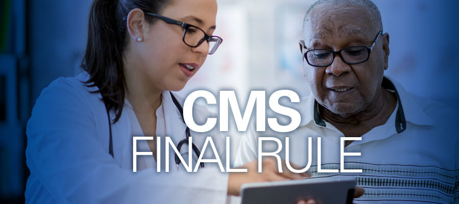 "image of clinician and patient with text reading ""CMS final rule"""