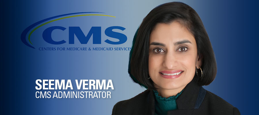 Image of Seema Verma with blue background and CMS logo