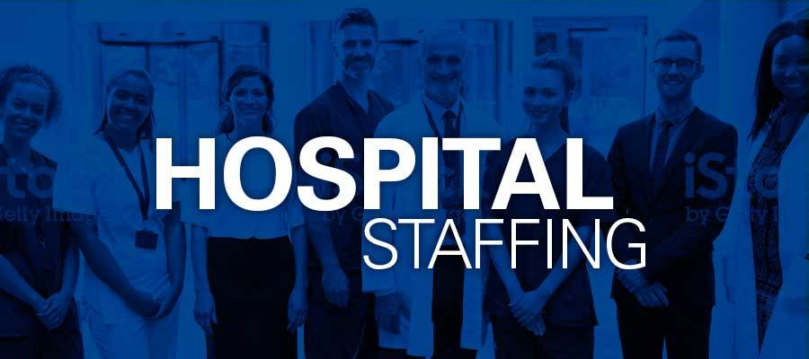 "blue background with darkly lit figures and white text reading ""hospital staffing"""
