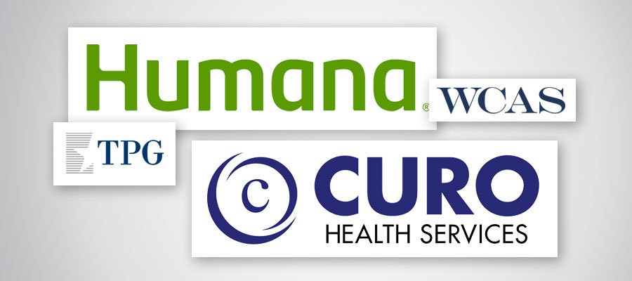 Humana and CURO logos with WCAS and TPG logos