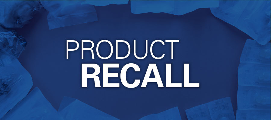 "blue background with white text that says ""product recall"""
