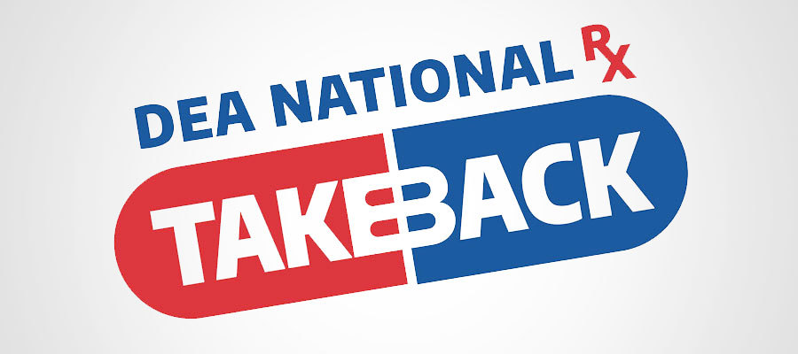 text showing DEA National RX Takeback logo in shape of a pill in red and blue