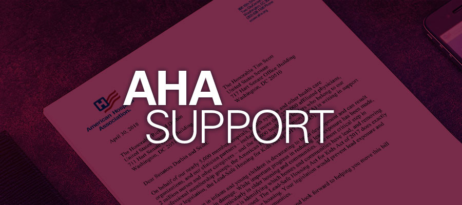"Letter in red background with white text that reads"" AHA Support"""