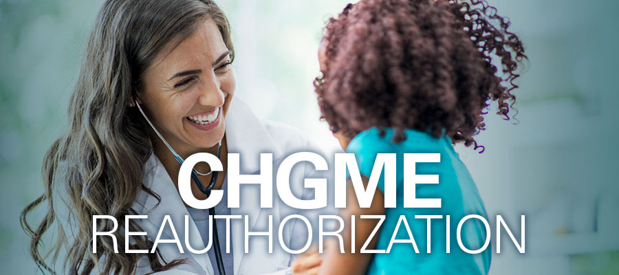 "Image of woman and child with the words ""CHGME Reauthorization"""
