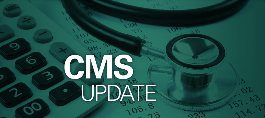 "calculator and stethoscope on desk underneath the words ""CMS Update"""