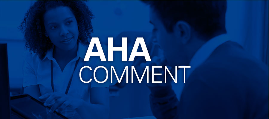"blue background with white text that says ""AHA Comment"""