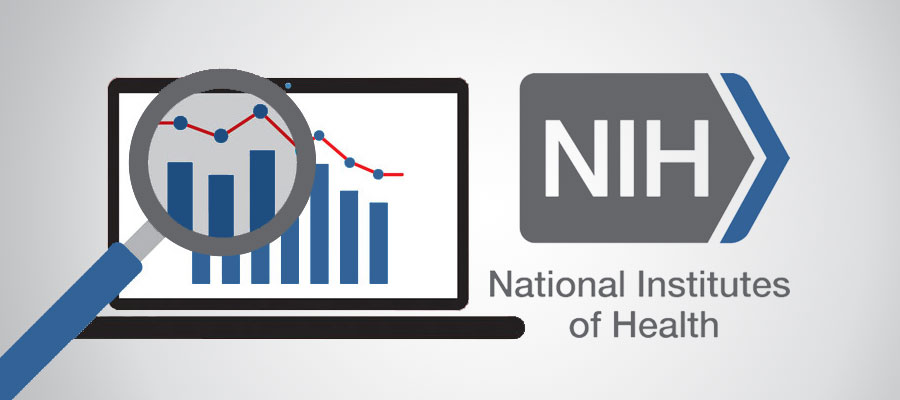 NIH logo next to a graph under a magnifying glass