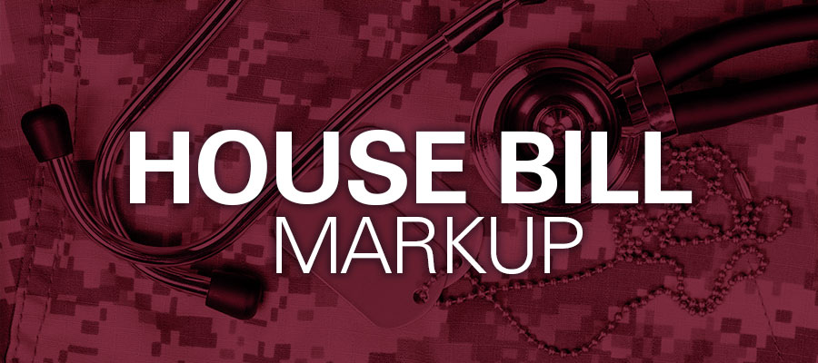 "red background with white text that reads""House Bill Markup"""