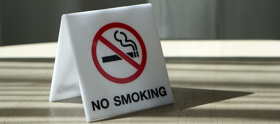 Folded no-smoking sign