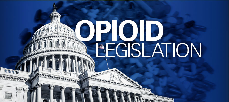 "blue background with image of Capitol building and white text that says ""Opioid Legislation"""
