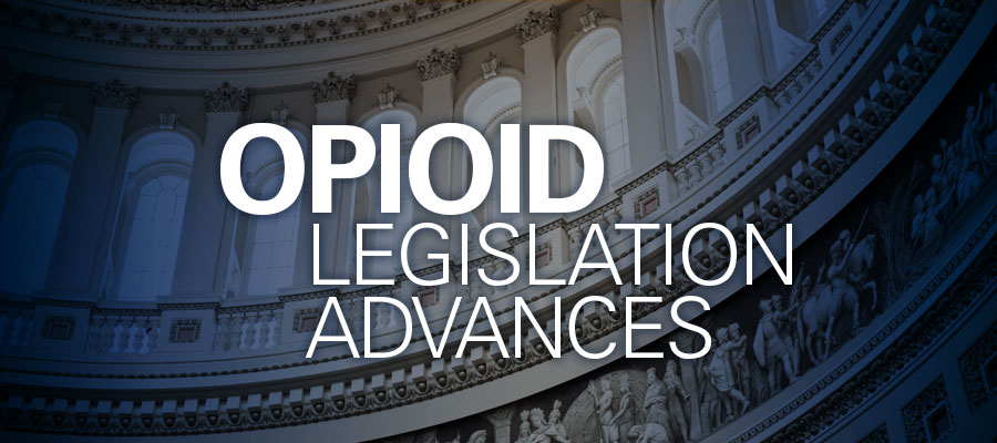 "Image of inside of Capitol Building in green with white text that reads ""Opioid Legislation Advances"""