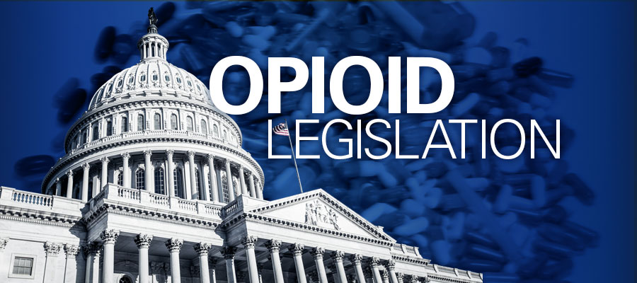 "blue background with image of Capitol and white text that says ""Opioid Legislation"""