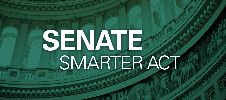 "Image of inside of Capitol Building in green with white text that reads ""SENATE SMARTER ACT"""