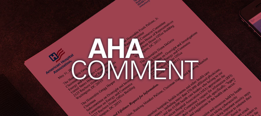 Image of letter under text that reads: AHA Comment