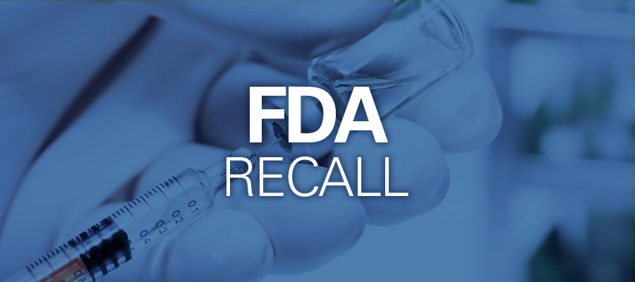 "blue background with white text that says ""FDA Recall"""
