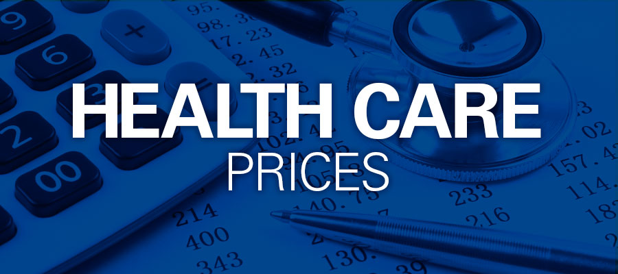 "blue background with white text that says ""Health Care Prices"""