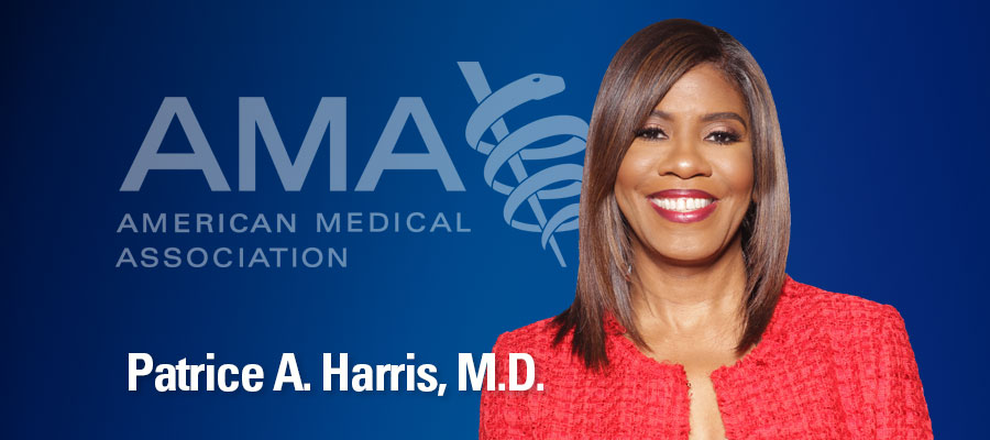 Image of Patrice Harris next to her title and AMA logo