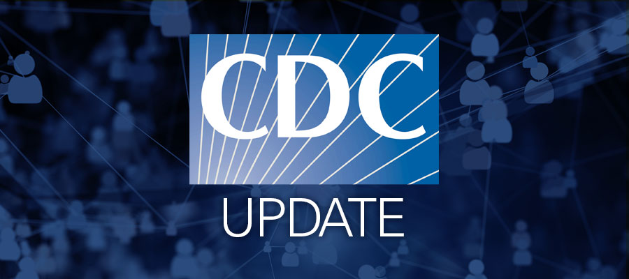 "blue background with white text that says ""CDC Update"""