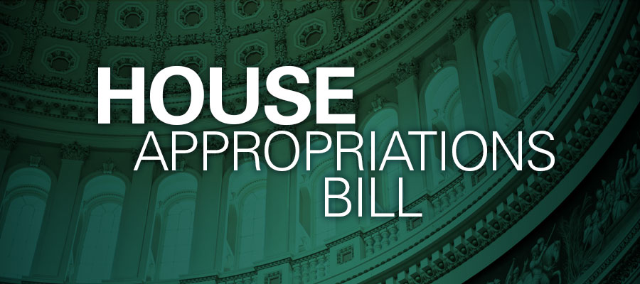 "green background with white text that reads ""House Appropriations Bill"""