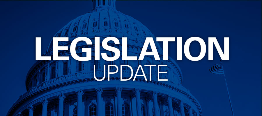 "blue background with white text that says ""Legislation Update"""