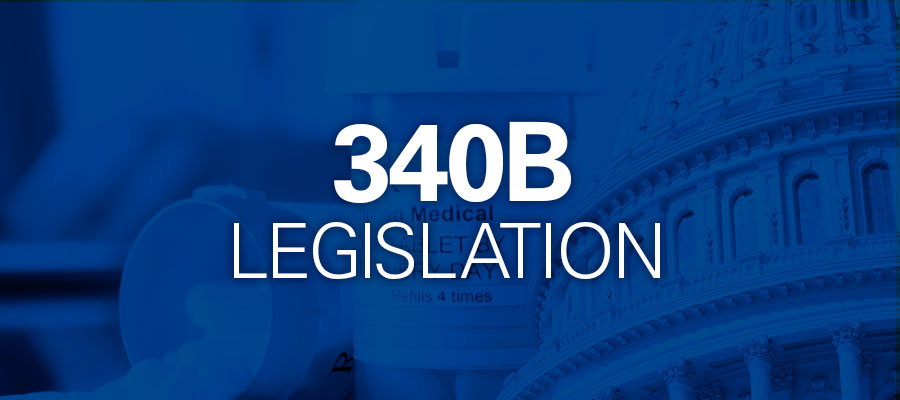 "blue background with white text that says "" 340B Legislation"""