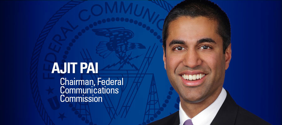 Image of Ajit Pai with blue background and his title
