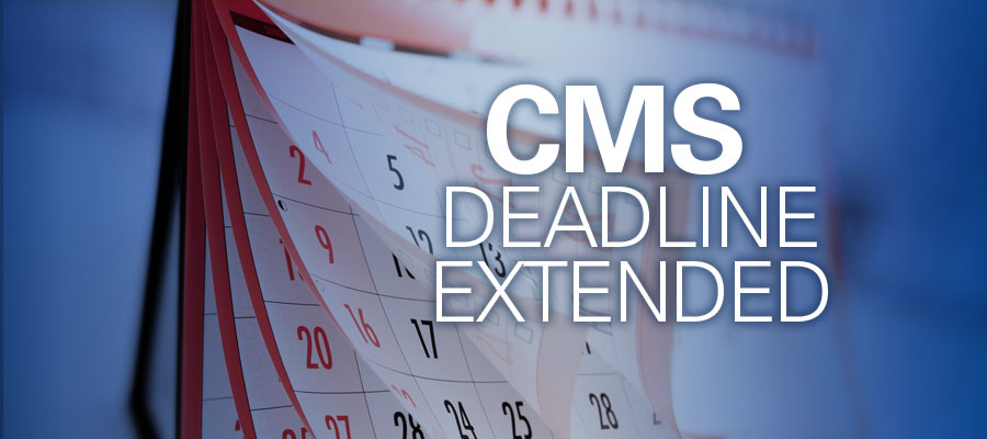 Calendar pages fluttering with text that reads CMS Deadline Extended