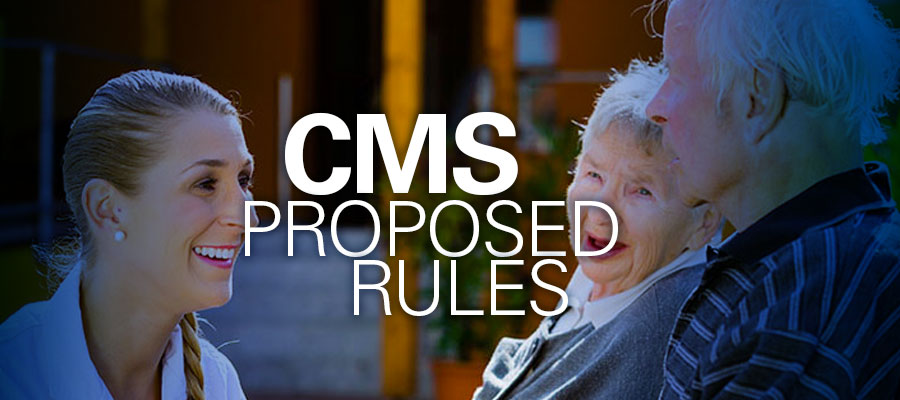 "Image of physician smiling at elderly couple with words ""CMS Proposed Rules"""