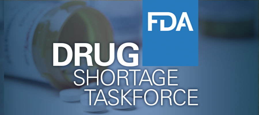 "Image of open pill bottle with text next to it that reads ""FDA Drug Shortage Task Force"""