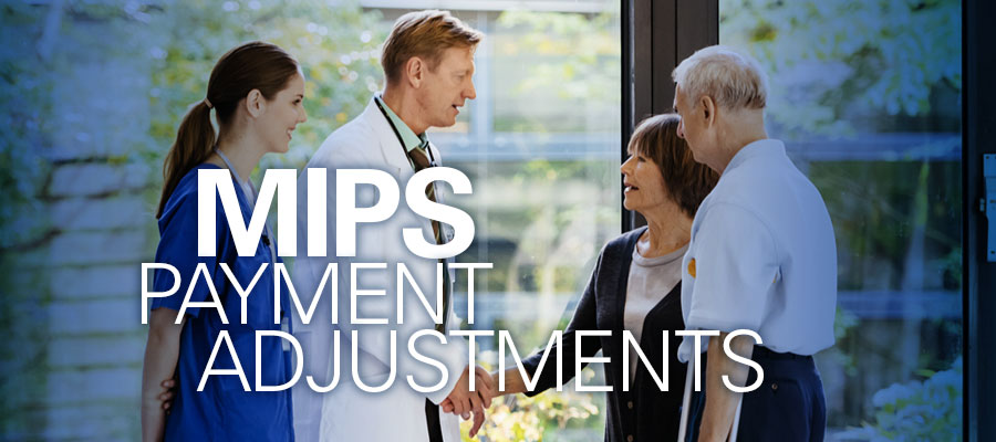 image of clinicians shaking hands with patients next to words MIPS Payment Adjustments