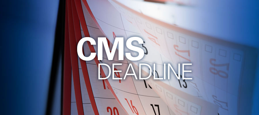 "Calendar pages fluttering with text that reads ""CMS Deadline"""