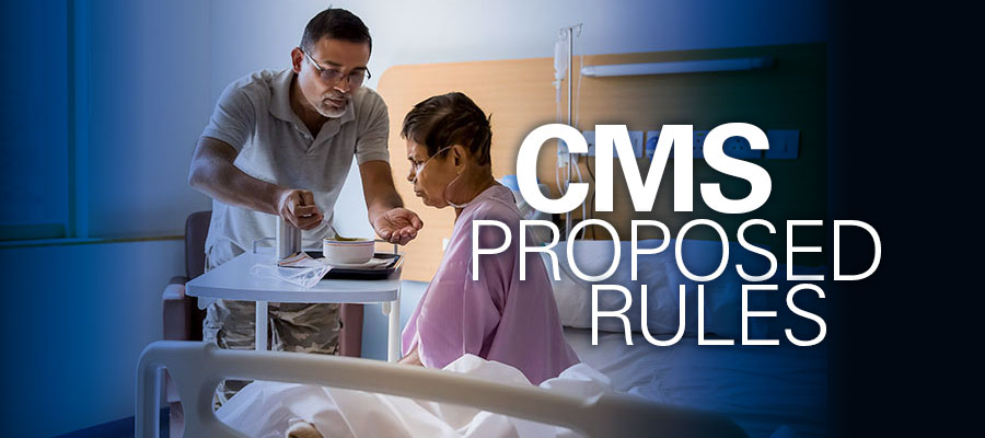 "Image of caretaker helping woman on hospital bed under text that reads ""CMS Proposed Rules"""