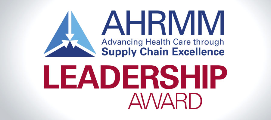 "AHRMM logo with text that says ""leadership award"""