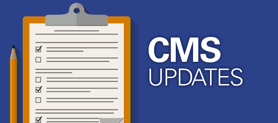 "clipboard next to text that says ""CMS Updates"""