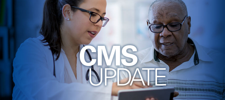 "Clinician and patient looking at tablet with white text that says ""CMS Update"""