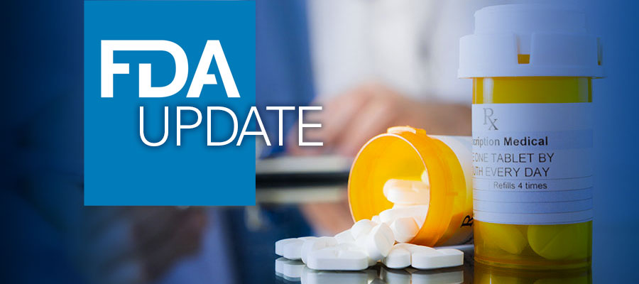 "FDA logo next to the word ""Update"" beside image of pill bottles. Agencies issue new opioid risk mitigation strategy, resource."