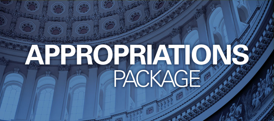 "Image of capital building against blue sky with white text that reads ""Appropriations Package"""