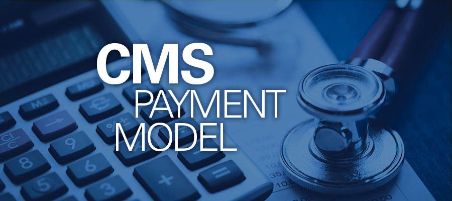 "Blue tinted keyboard and stethoscope with white text that reads ""CMS Payment Model"""