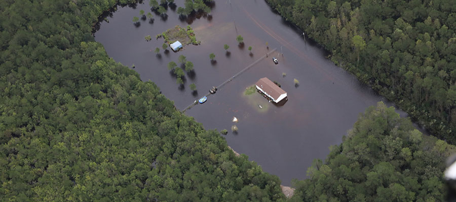 Birds eye view of Hurricane Florence flooding