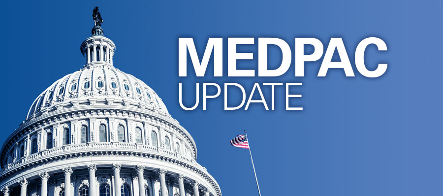 "Capitol building against blue sky and white text that reads ""MEDPAC update"""