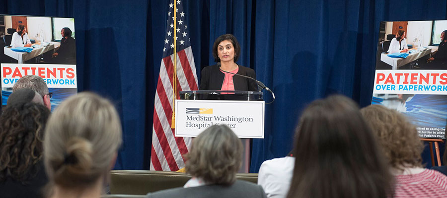Seema Verma standing at podium at Medstar event