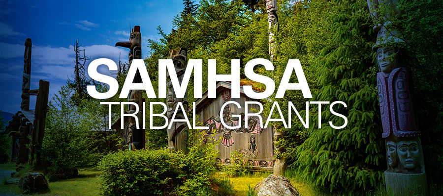 "Image of forest with text in front that reads ""SAMHSA Tribal Grants"""