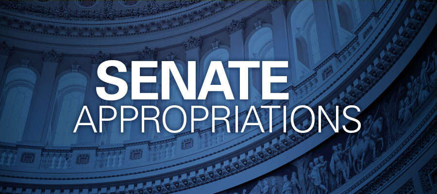 "inside of capitol building with blue tint, white text that reads ""SENATE APPROPRIATIONS"""