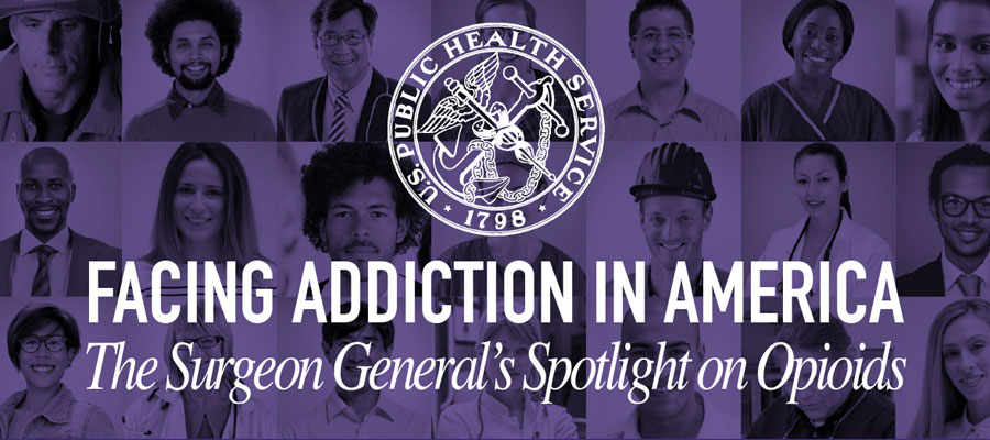 "Purple backdrop of images of faces with Surgeon General's logo and text that reads ""Facing Addiction in America: The Surgeon General's Spotlight on Opioids"""