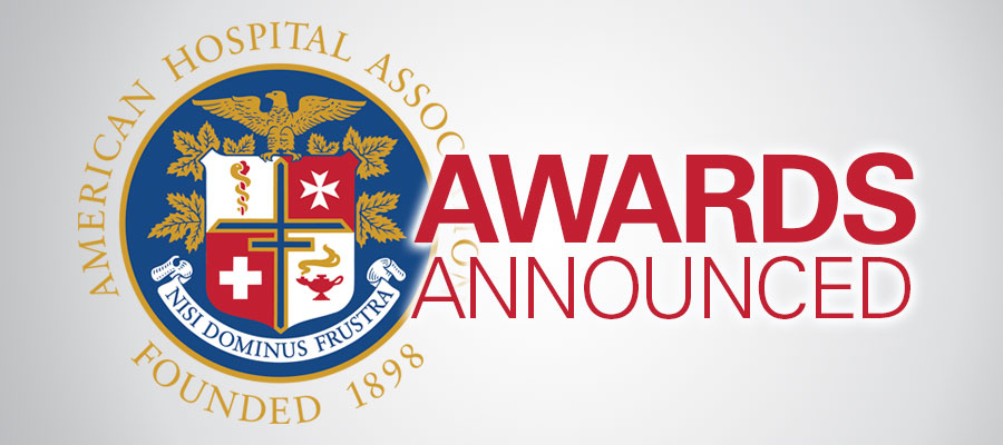 "AHA logo next to the words ""AWARDS ANNOUNCED"" AHA honors 19 hospital volunteer programs"