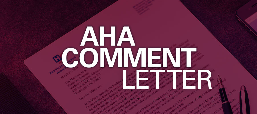 "red background with white text that reads ""AHA Comment Letter"" - AHA comments on FCC proposal for low-income telehealth pilot"